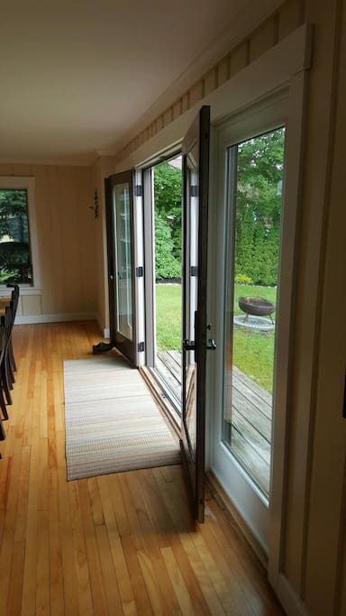 Doors from dining room to outdoor space