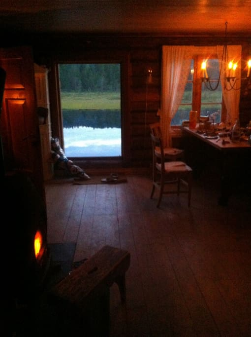 The kitchen main cabin and the pond behind
