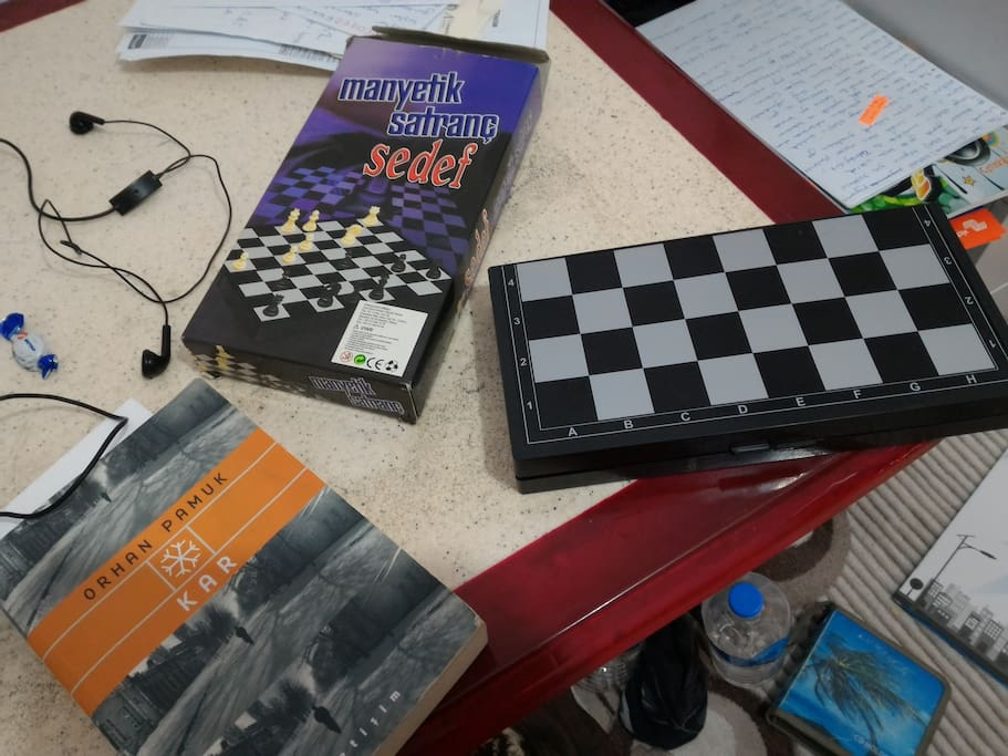 table,chess, pc,books whatever for spending time