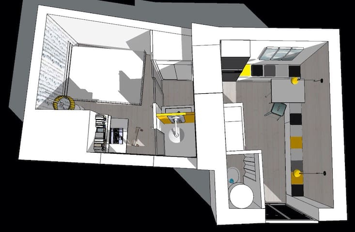 Ceci est le plan en 3D de l'appartement,il a une fenêtre par pièce