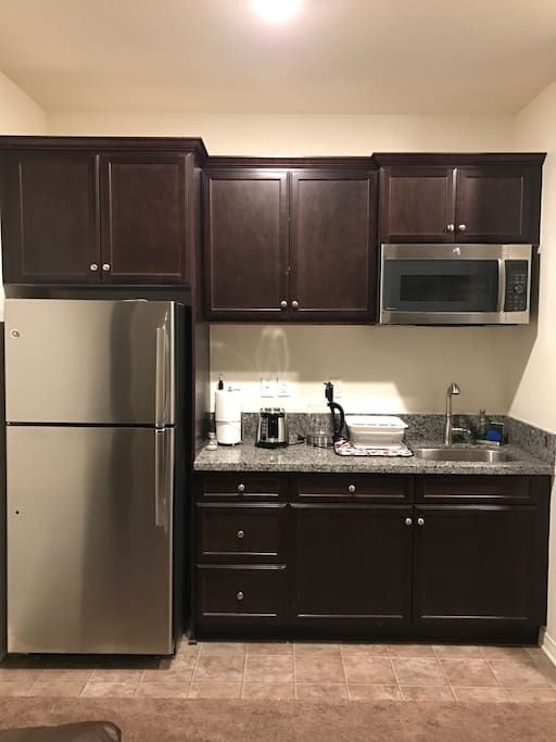 Coffee station sink refrigerator conventional oven
