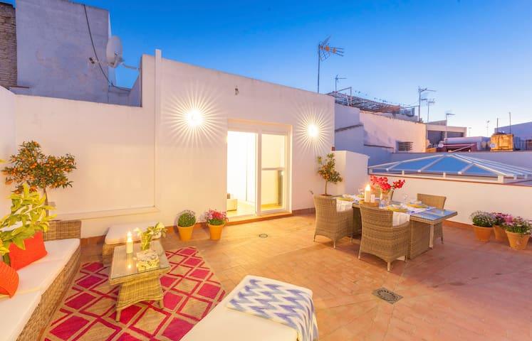 Central spacious flat w/terrace - Sales y Ferre - Sevilla - Appartement