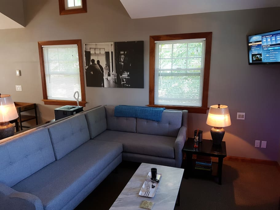 Sofa, coffee table,lamps, tv, Electric Fireplace