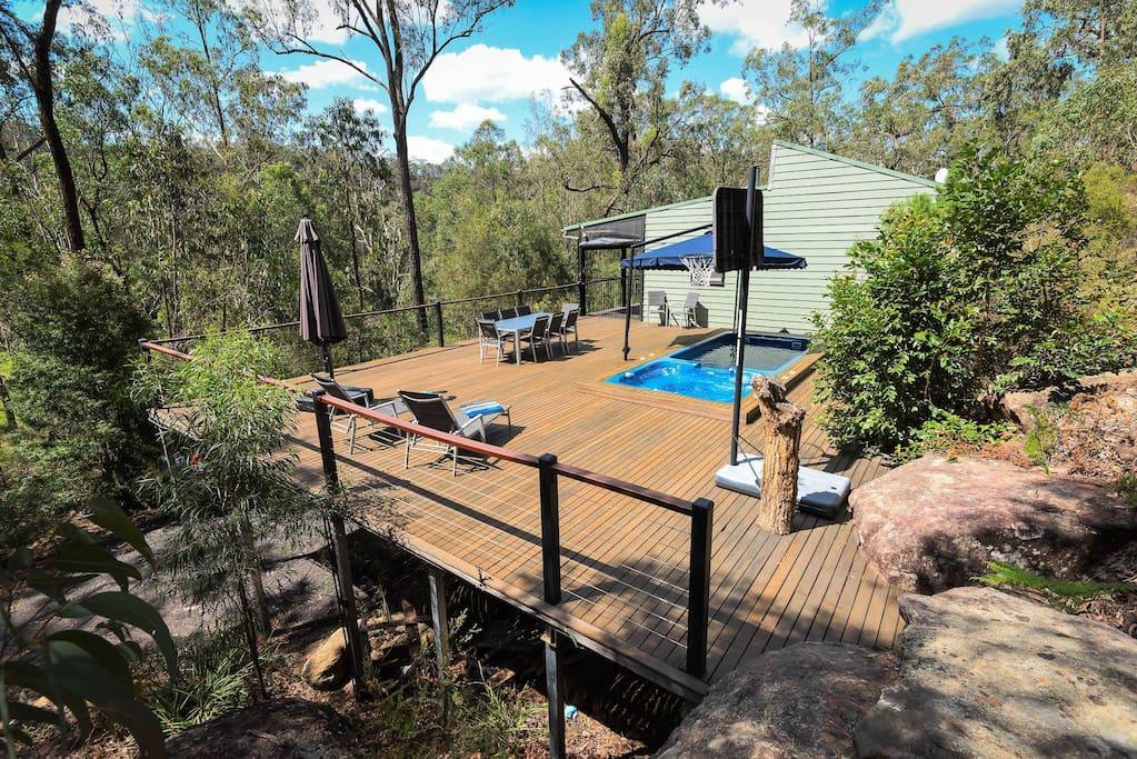 Private deck with swim spa