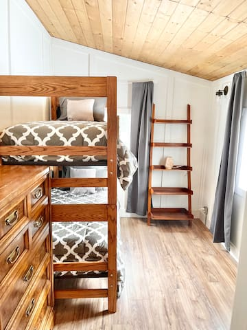 2nd guest bedroom with twin bunk beds. Perfect for kids, sturdy enough for adults.
