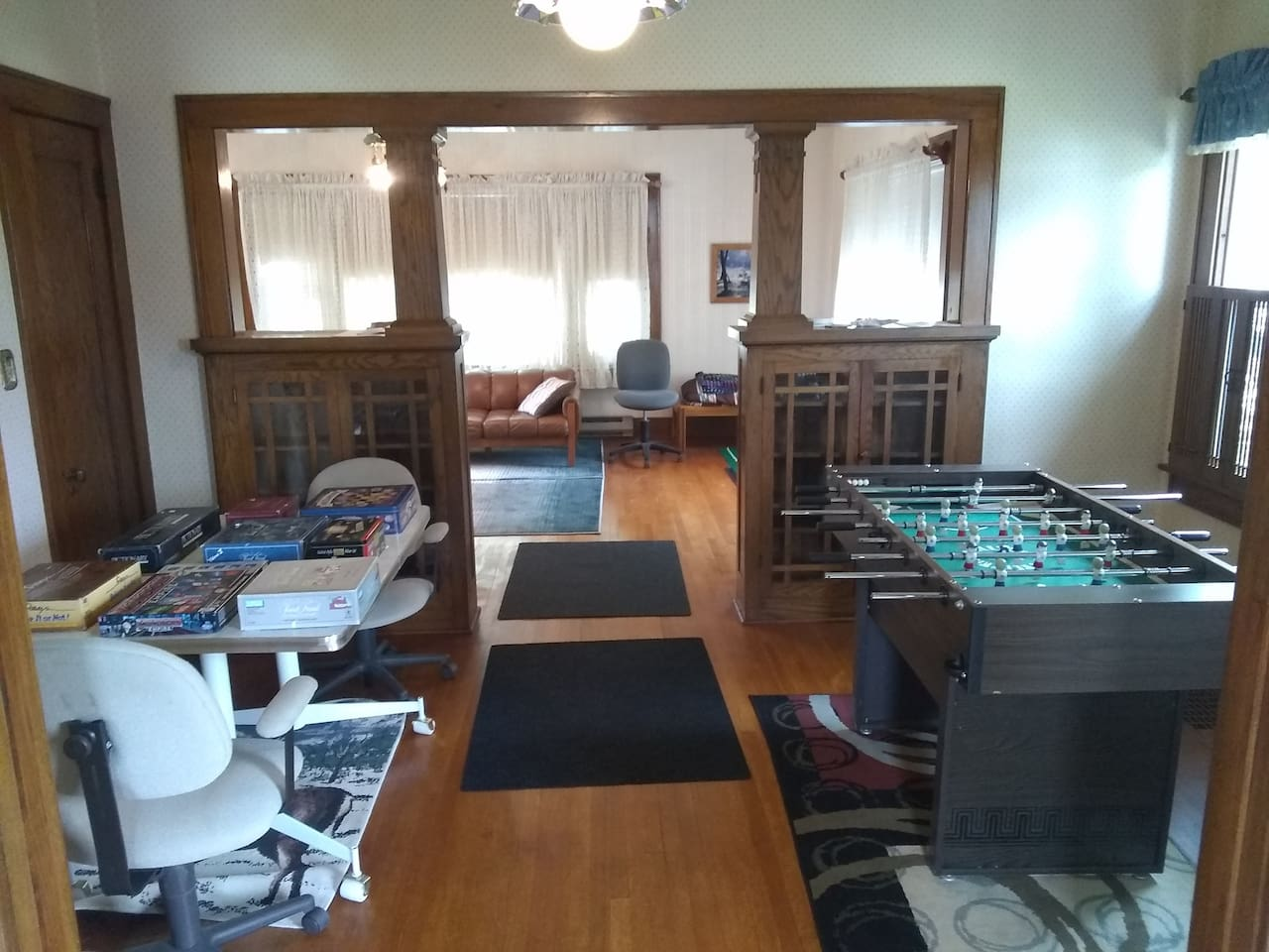 Game room with foosball table & board games to make for a fun stay!