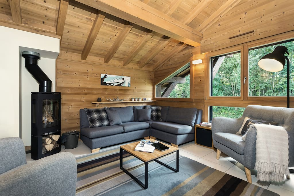 • Lots of comfy seating with wood burning stove •