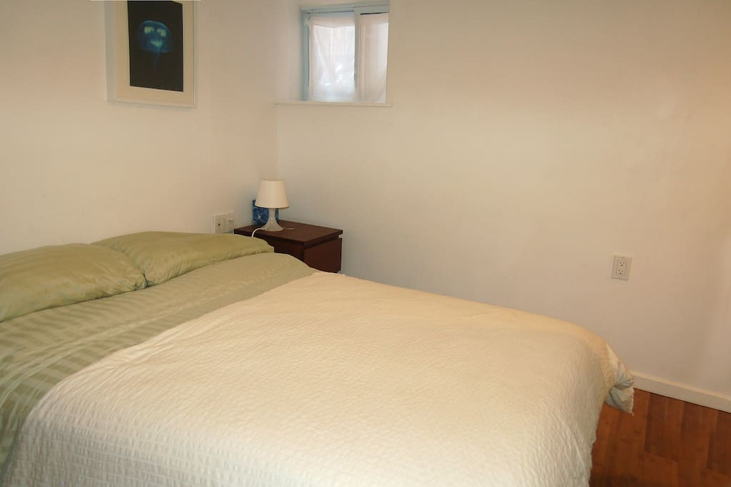 Comfortable bedroom with a new double mattress