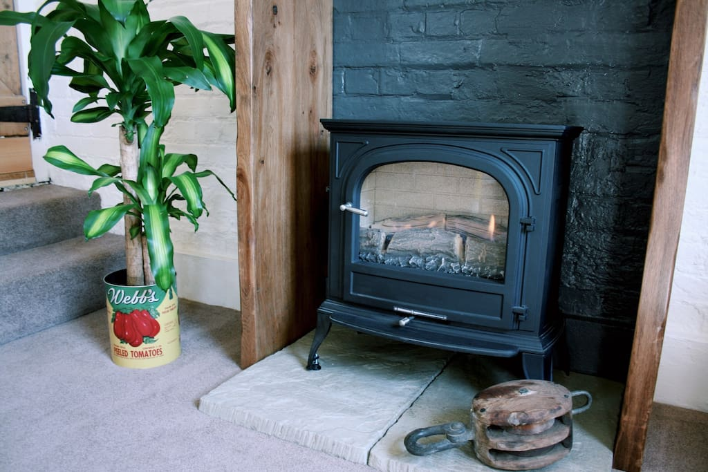 Cosy gas fire, easy to use. Snuggle up to watch TV or listen to music on the sound system.
