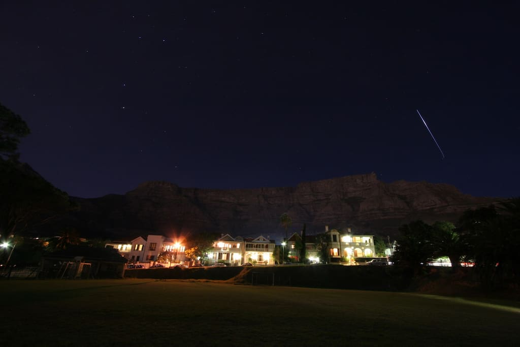 view of the apartment at night watched over by table mountain