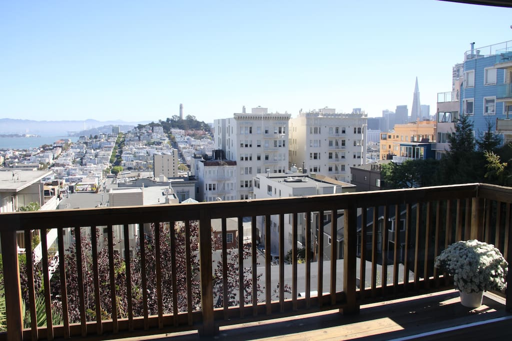 View of Coit Tower and the Bay from spacious deck