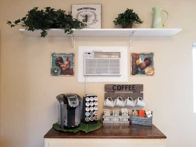 Enjoy a hot beverage at the Coffee Station.