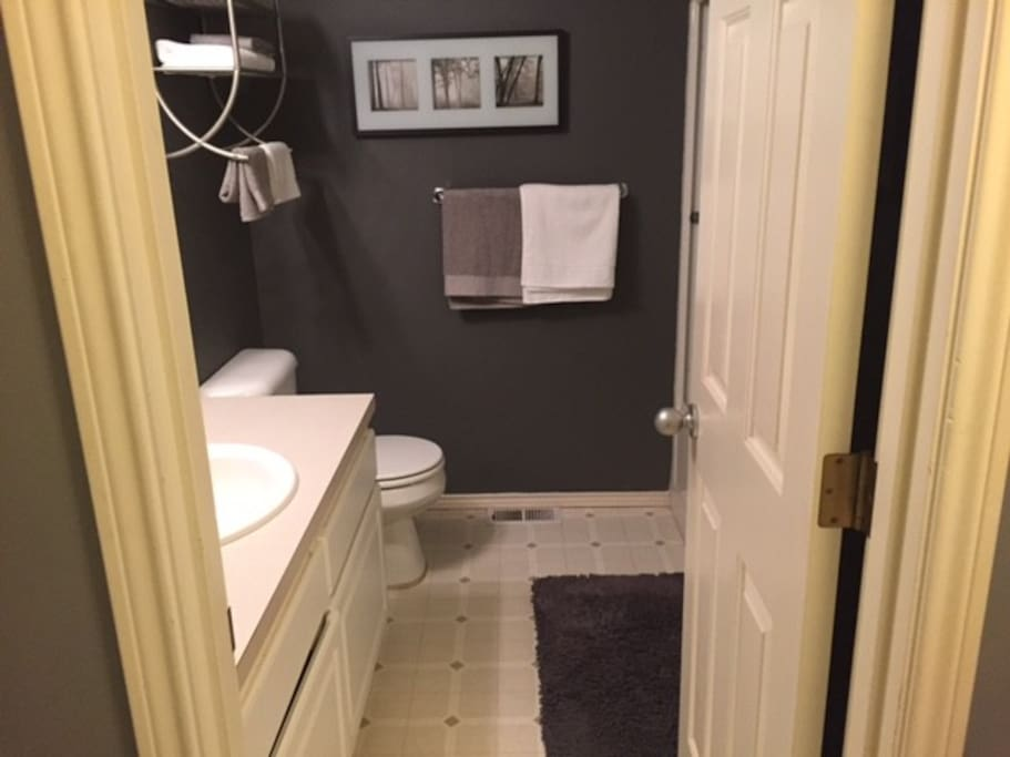 Full, private bathroom with tub, shower, and vanity.