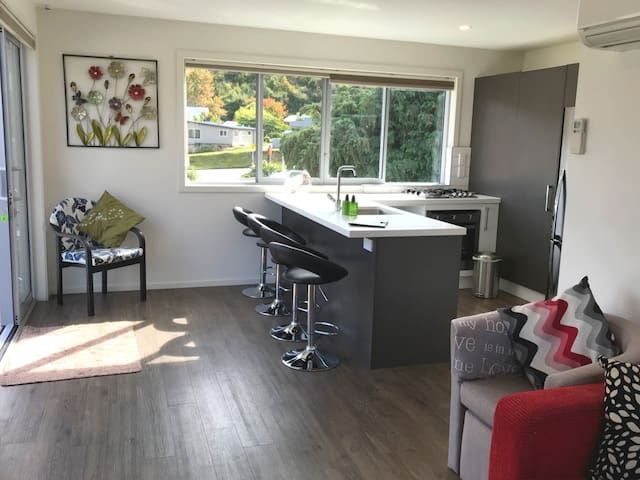 Full kitchen and compact living area
