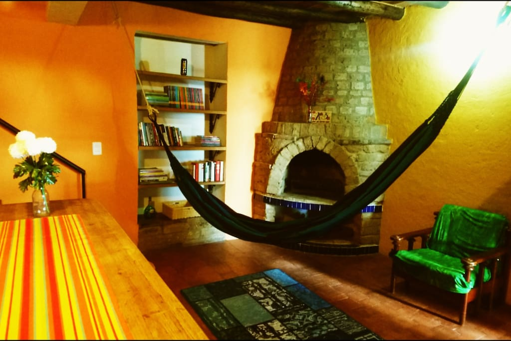 You can relax in the hammock in the heat of the fireplace