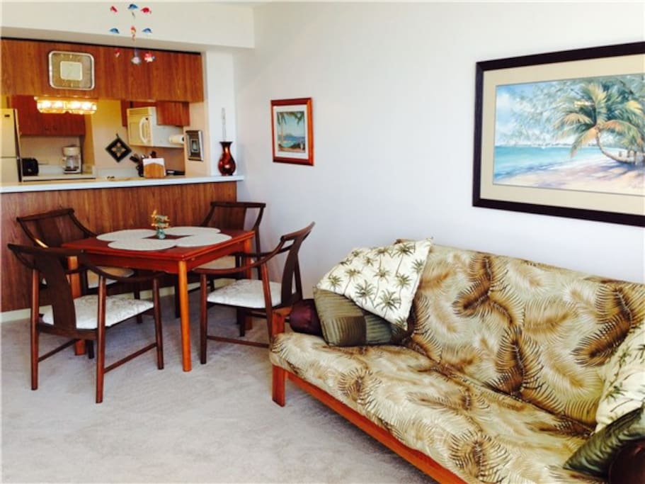 Beautiful wooden furniture and décor give our condo a touch of class.