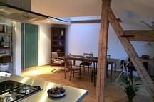 Offene Küche mit Esszimmer/  Open kitchen with dining room
