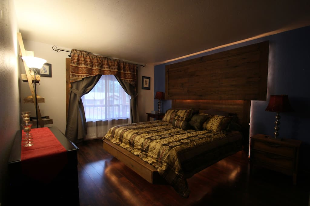 Very romantic master bedroom with large walk in closet and attached large master bathroom