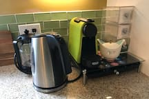 Nespresso and French Press with Coffee Provided; Electric Kettle with Tea.