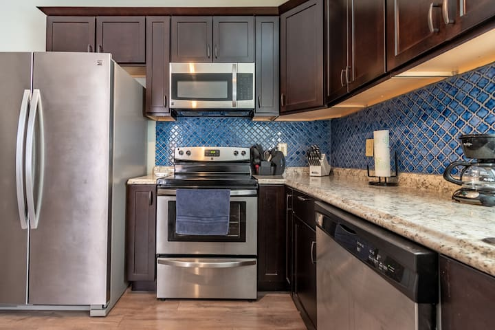 Brand new high end Kenmore Stainless steel appliances including microwave & dishwasher. New high end cabinets, beautiful dish set, all pots/pans to cook, coffee machine with free coffee, cream, sugar, equal, tea and more.