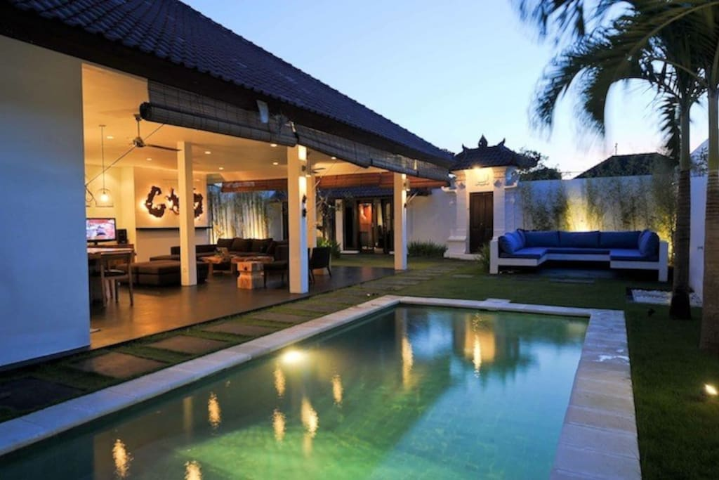 Living area from the pool