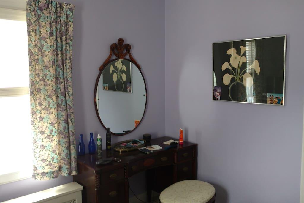 Dappled sunshine in master bedroom