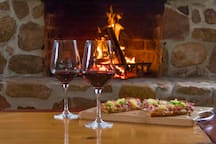 Enjoy a wine and pizza in our Camp kitchen