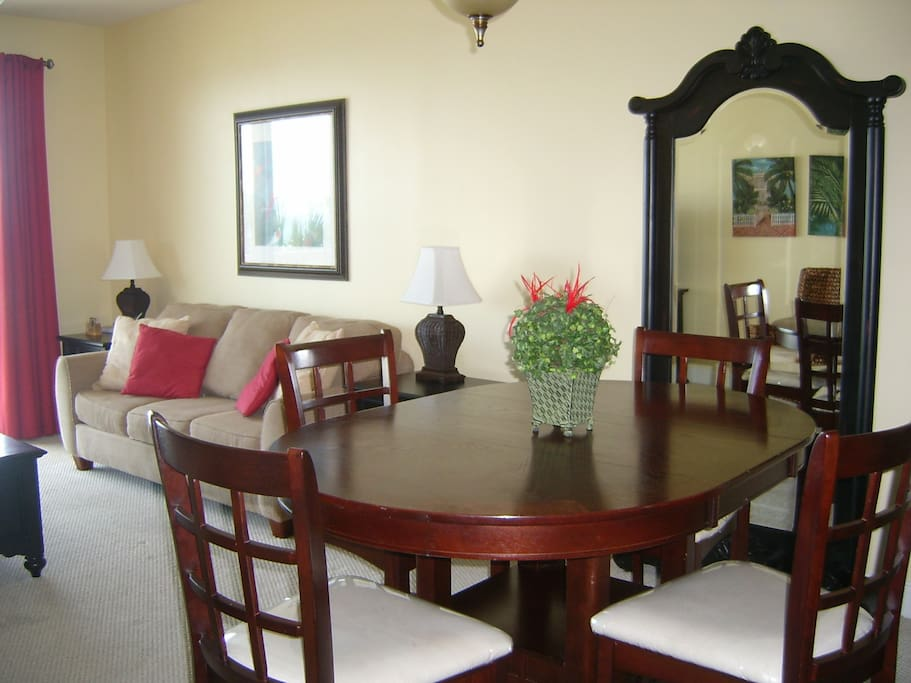 View of dining and family room from the kitchen