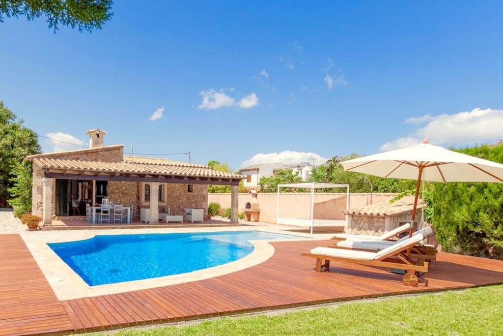 Villa façade and private pool