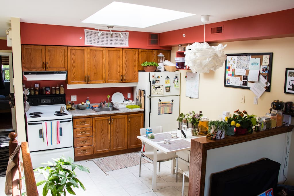 Open & Bright Kitchen with a huge skylight!