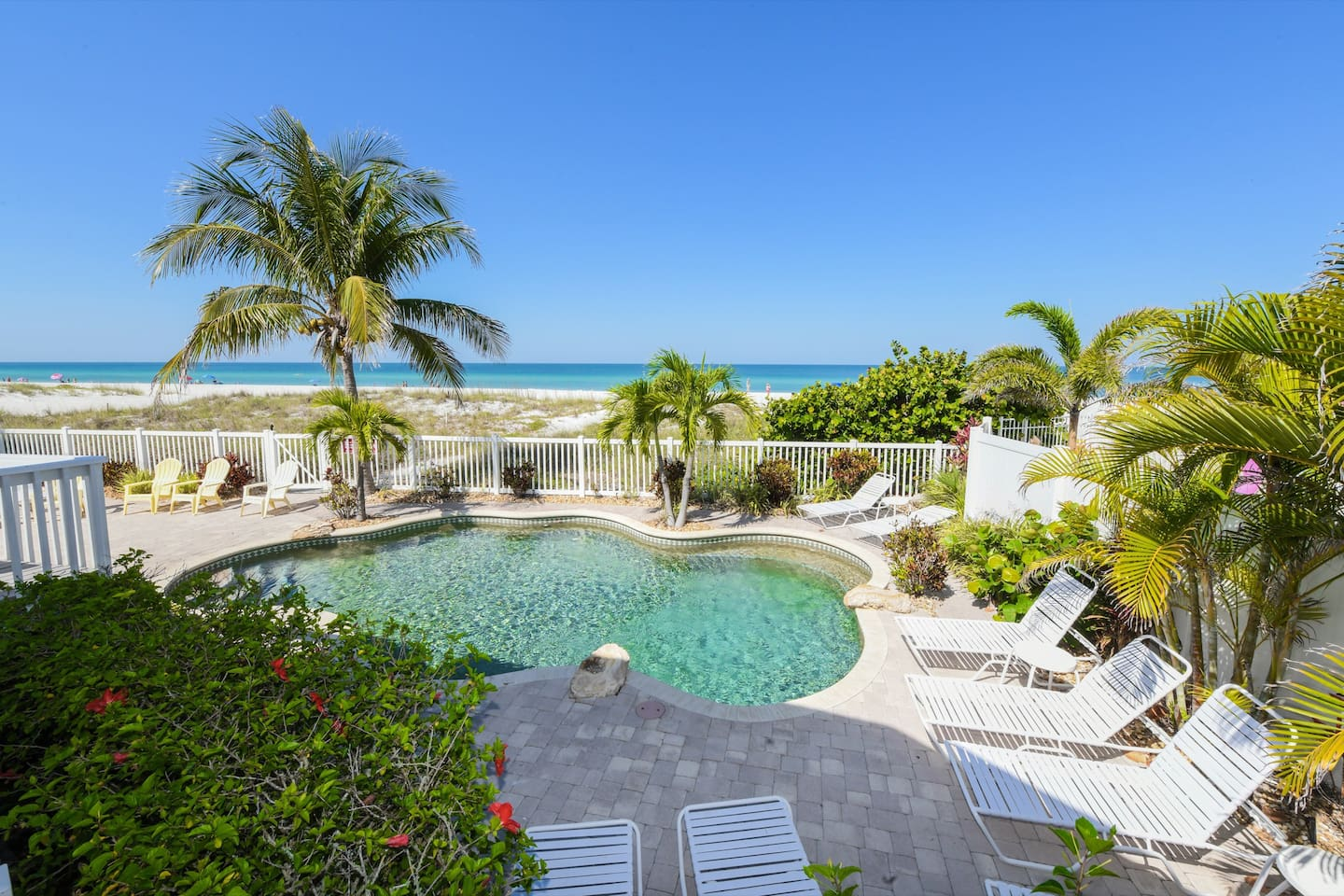 Heated pool overlooking the gorgeous beach