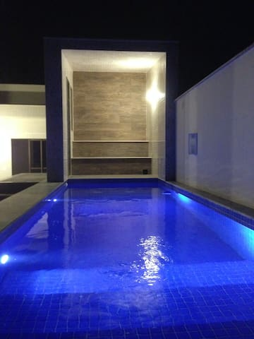 View of the pool&sauna at night