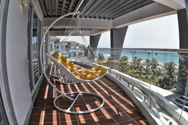 luxurious penthouse overlooking the beach