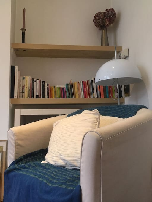 living room and books to enjoy