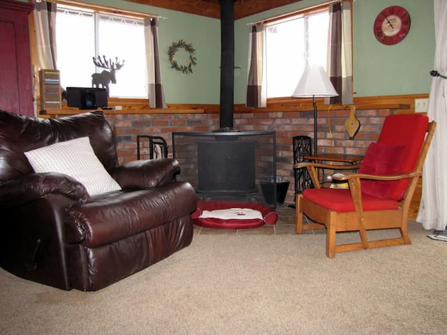 Wood stove seating area