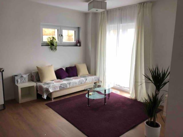 ruhige 50qm Wohnung, Wifi, Parkplatz, max. 4P