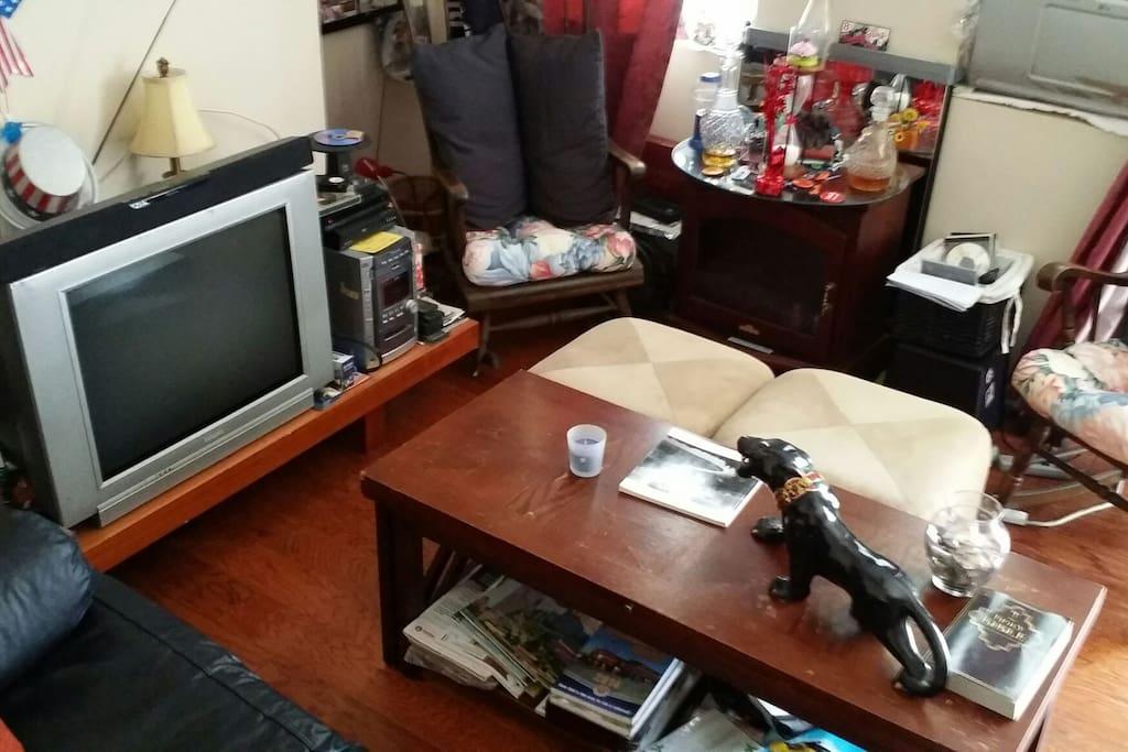 Living room  seats 6-8 guests  13x11 ft.
