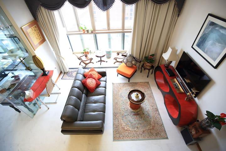2BD Artistic Loft Condo- Near MRT 15 mins Downtown - Singapur - Apartament