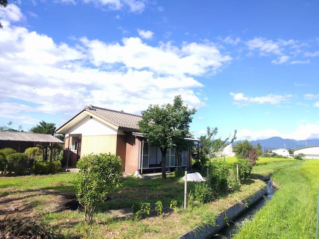 Mountain view Countryside house in rice fields