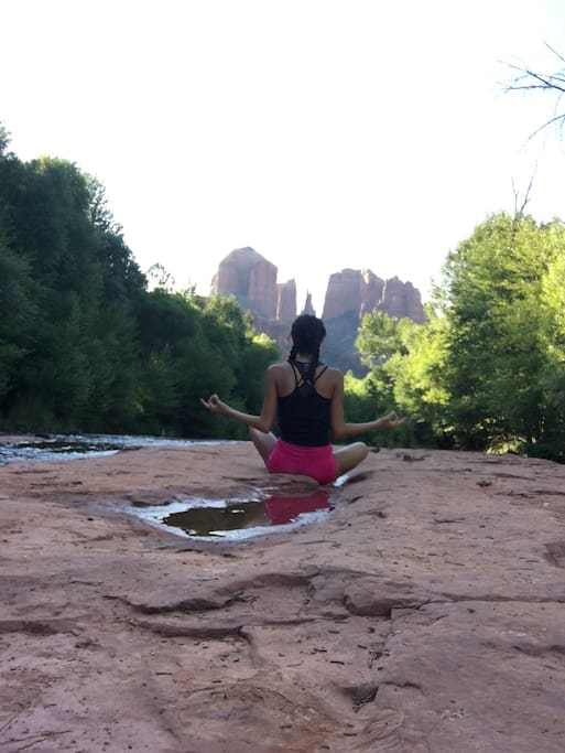 Our daughter during her morning run and yoga by the creek.This location is just a short walk from our property.