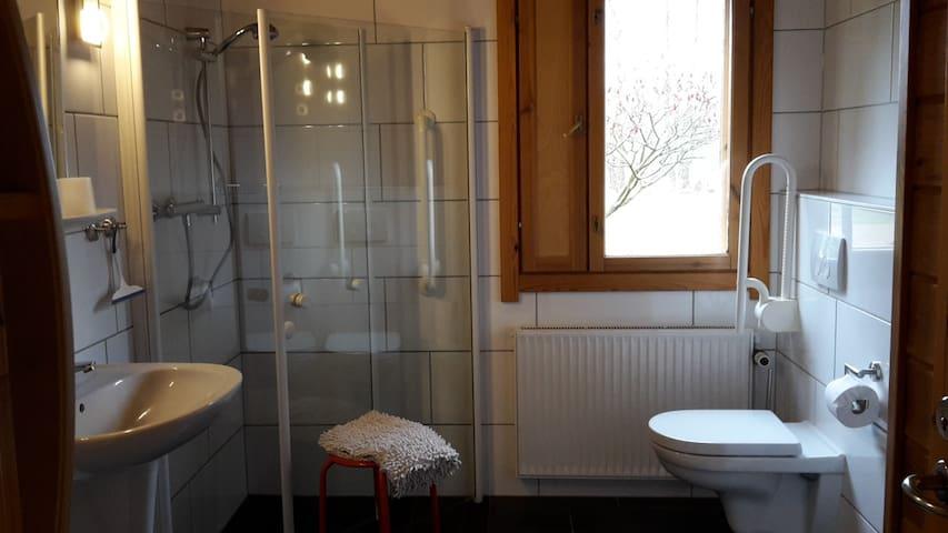 Gehbehindertes Bad mit rollstuhlgerechter Dusche
