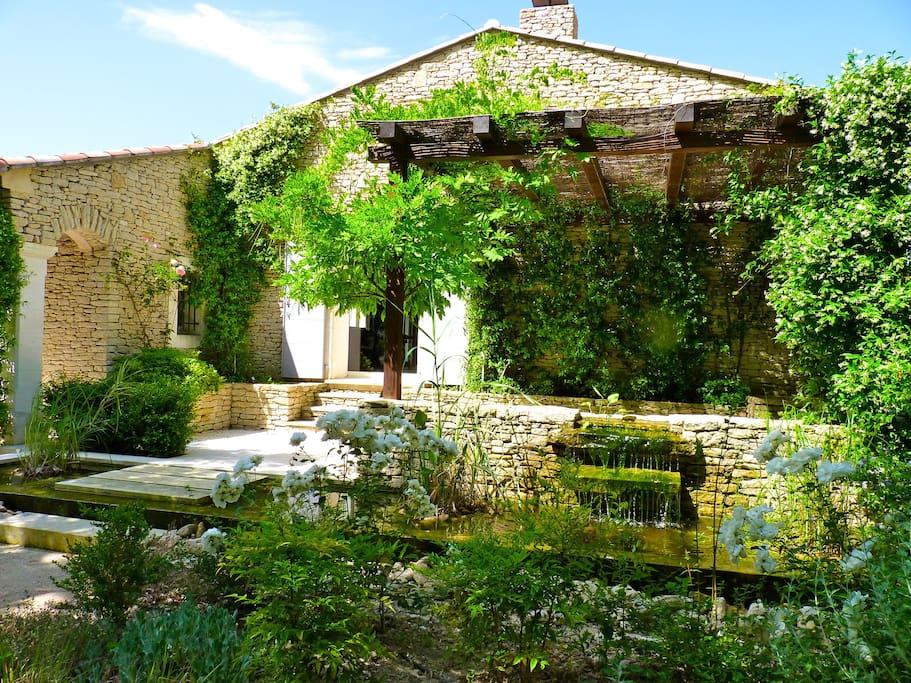 L'entrée et la fontaine luxuriante