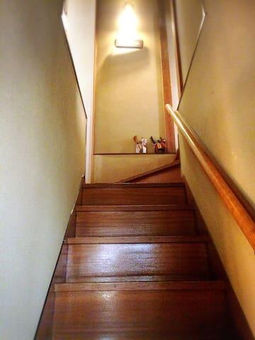 お部屋は二階です