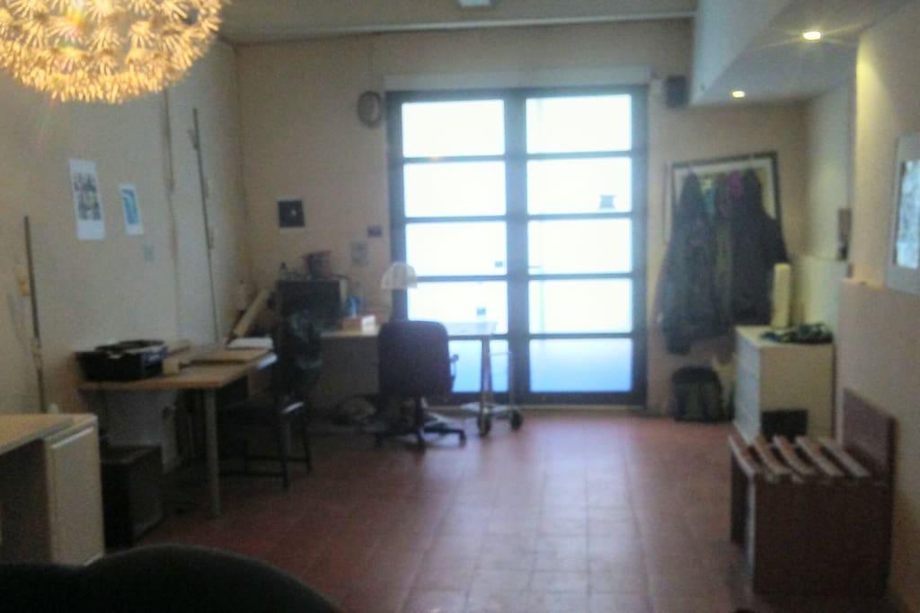 Desks in the living/study room