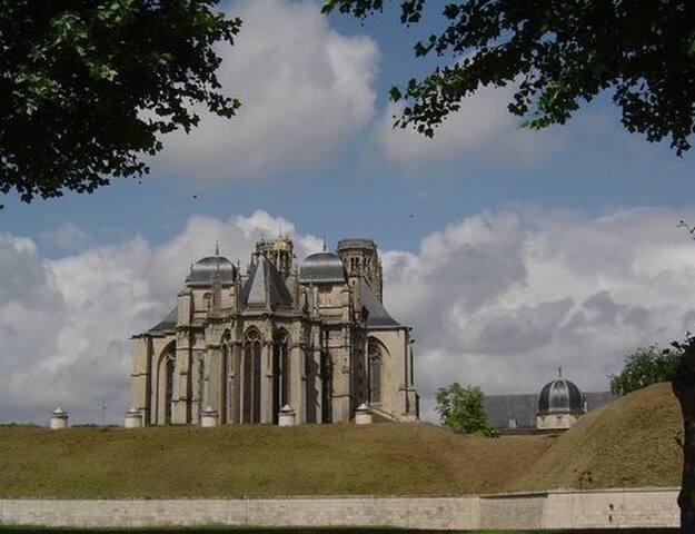 La cathédrale de Toul, vue arrière au dessus des remparts Vauban.