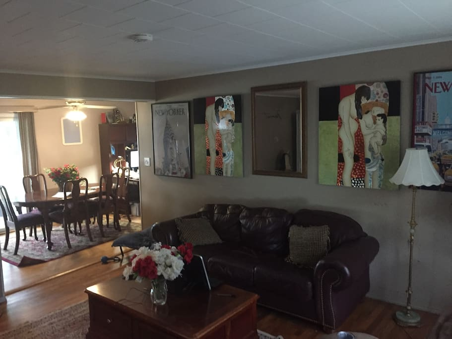 Dining area and living room to watch tv and decompress with massage chair