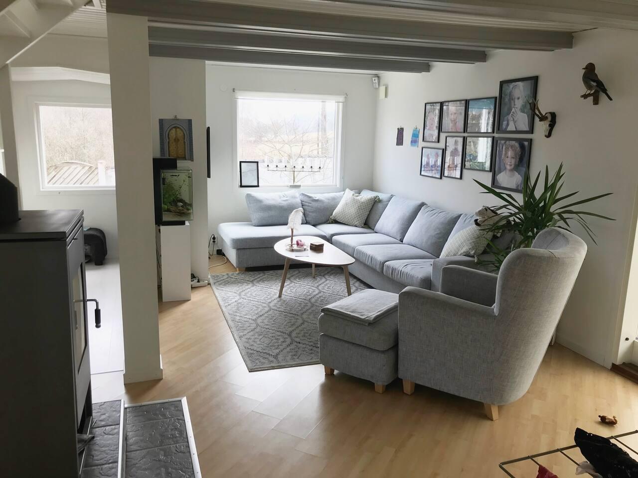 Ett av två vardagsrum med TV. Detta även med kamin.