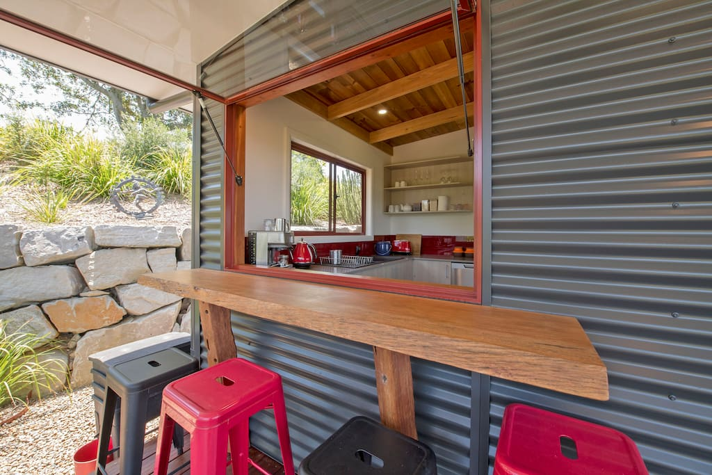 Coffee bar &  Kitchen from BBQ area.