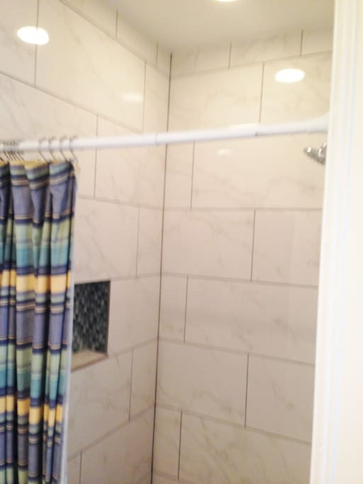 Great new marble tile shower