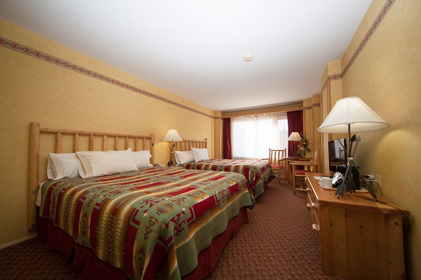 Two queen beds come available in our lodge style standard rooms